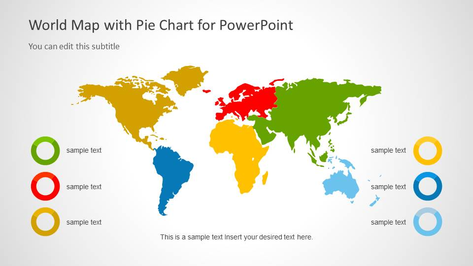 World Map Template with Pie Charts for PowerPoint - SlideModel