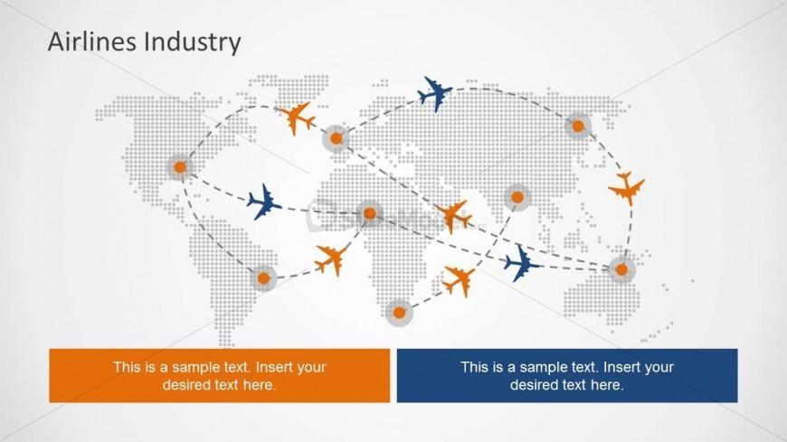 Flight Path PowerPoint Slide Design with World Map - SlideModel