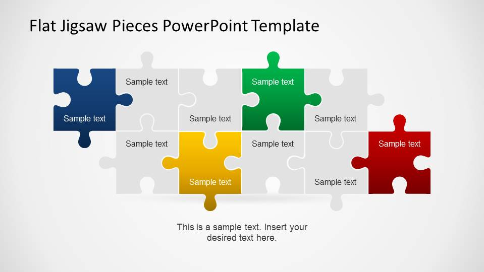 Editable Flat Jigsaw Pieces PowerPoint Template - SlideModel