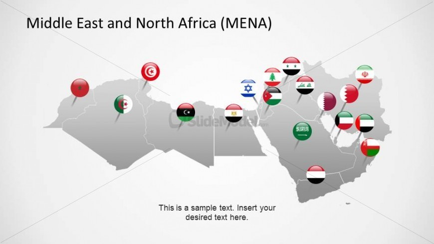 Middle East and North Africa Countries with Flag Icons - SlideModel