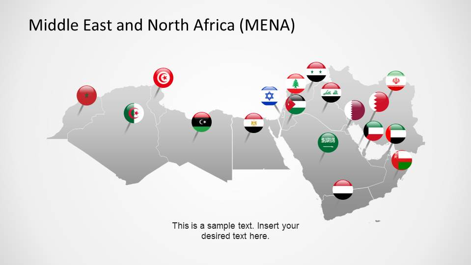 Middle East  North Africa Map Template for PowerPoint - SlideModel