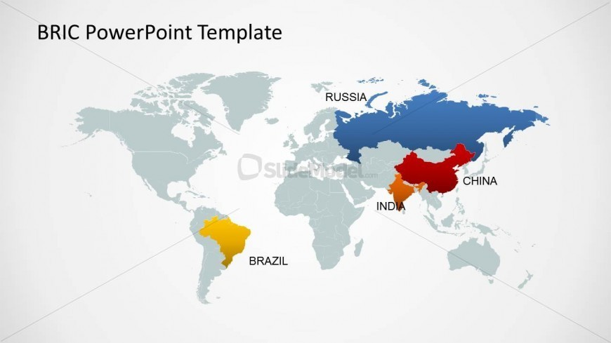 Editable World Map Template for PowerPoint BRIC Countries - SlideModel