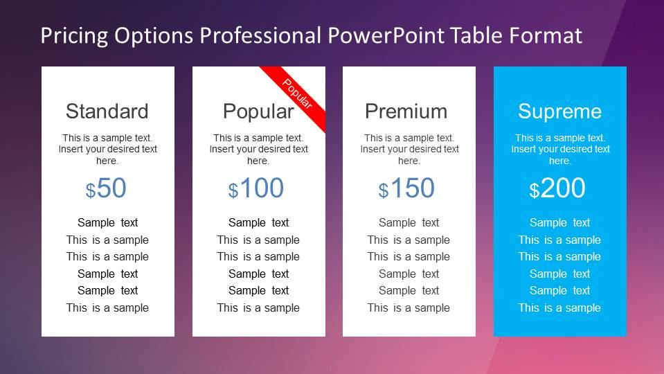 Professional Pricing Options Table for PowerPoint - SlideModel