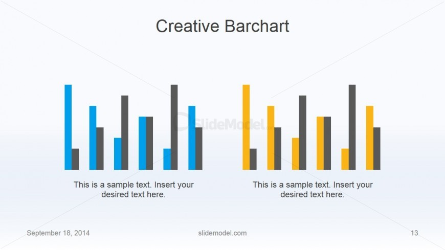 Flat Business Thin Bar Chart Slide Design - SlideModel