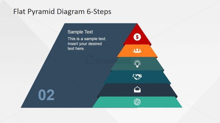 Second Step Highlighted of 6 Layers Pyramid Diagram - SlideModel