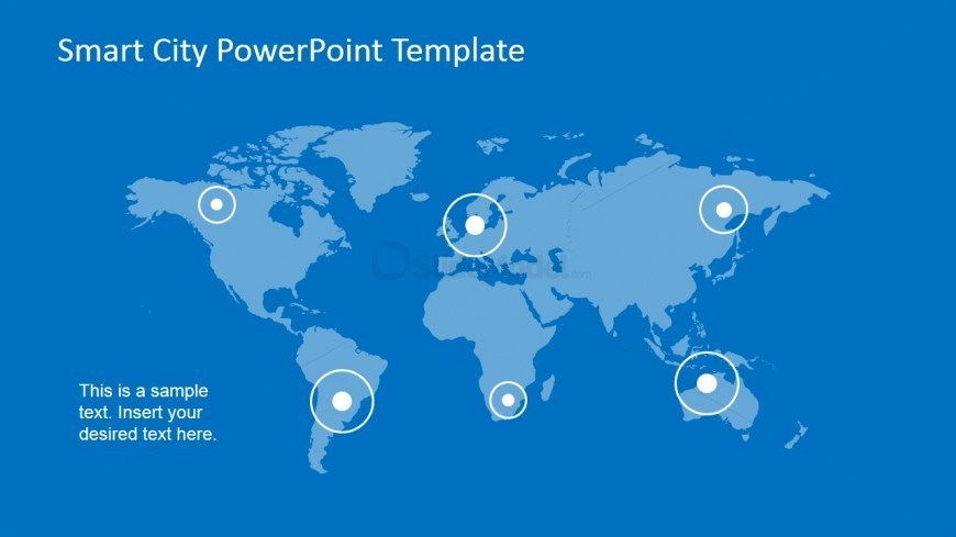 PowerPoint World Map with Pointer to Smart Cities - SlideModel