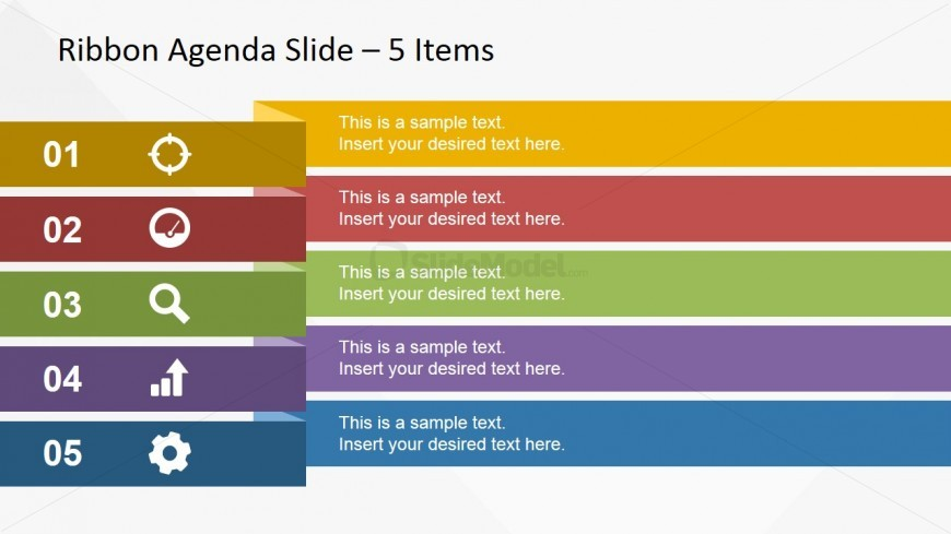 Wide Ribbon Design for Presentation Agenda Slides - SlideModel