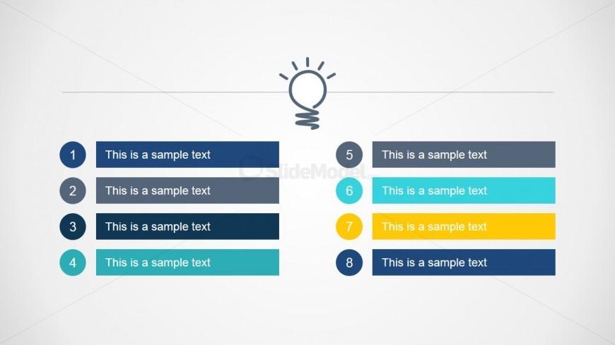 8 Steps Bright Idea Agenda Slide Design - SlideModel