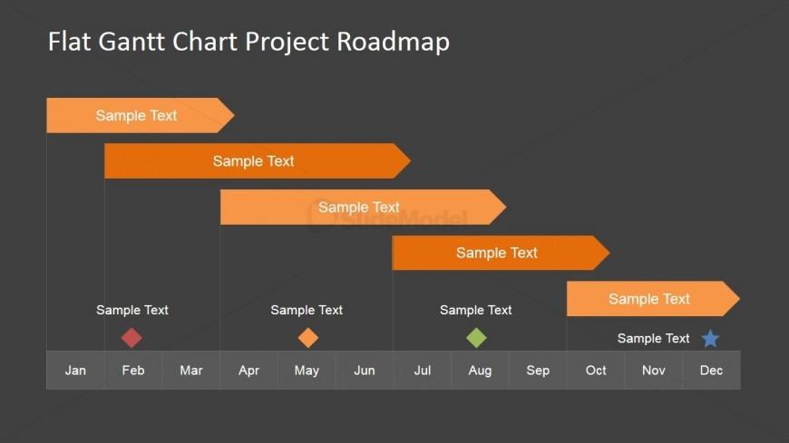 Flat Roadmap Gantt Chart with Milestones - SlideModel