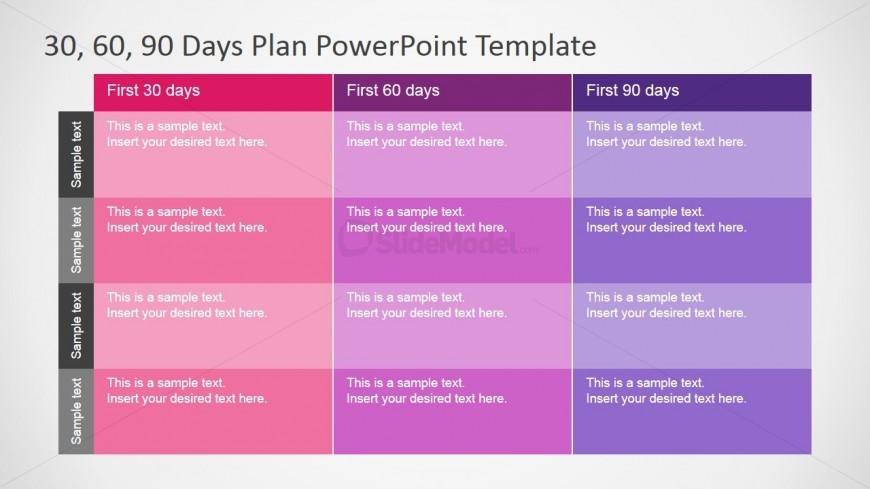 30 60 90 Days Plan Table Diagram for PowerPoint - SlideModel