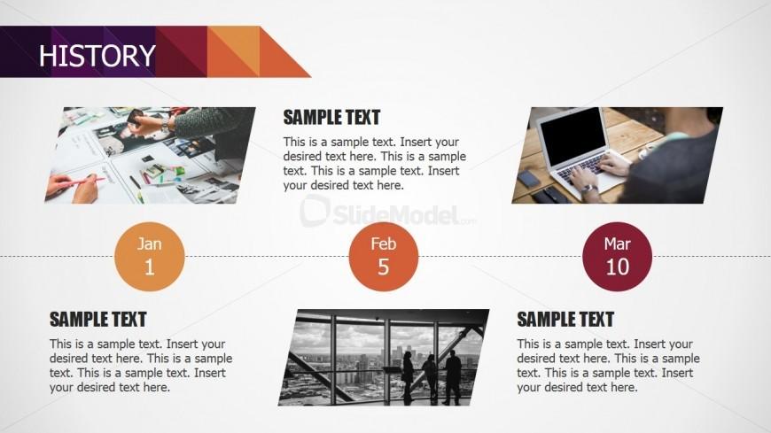 History Timeline for Small Business PowerPoint Deck - SlideModel - sample advertising timeline