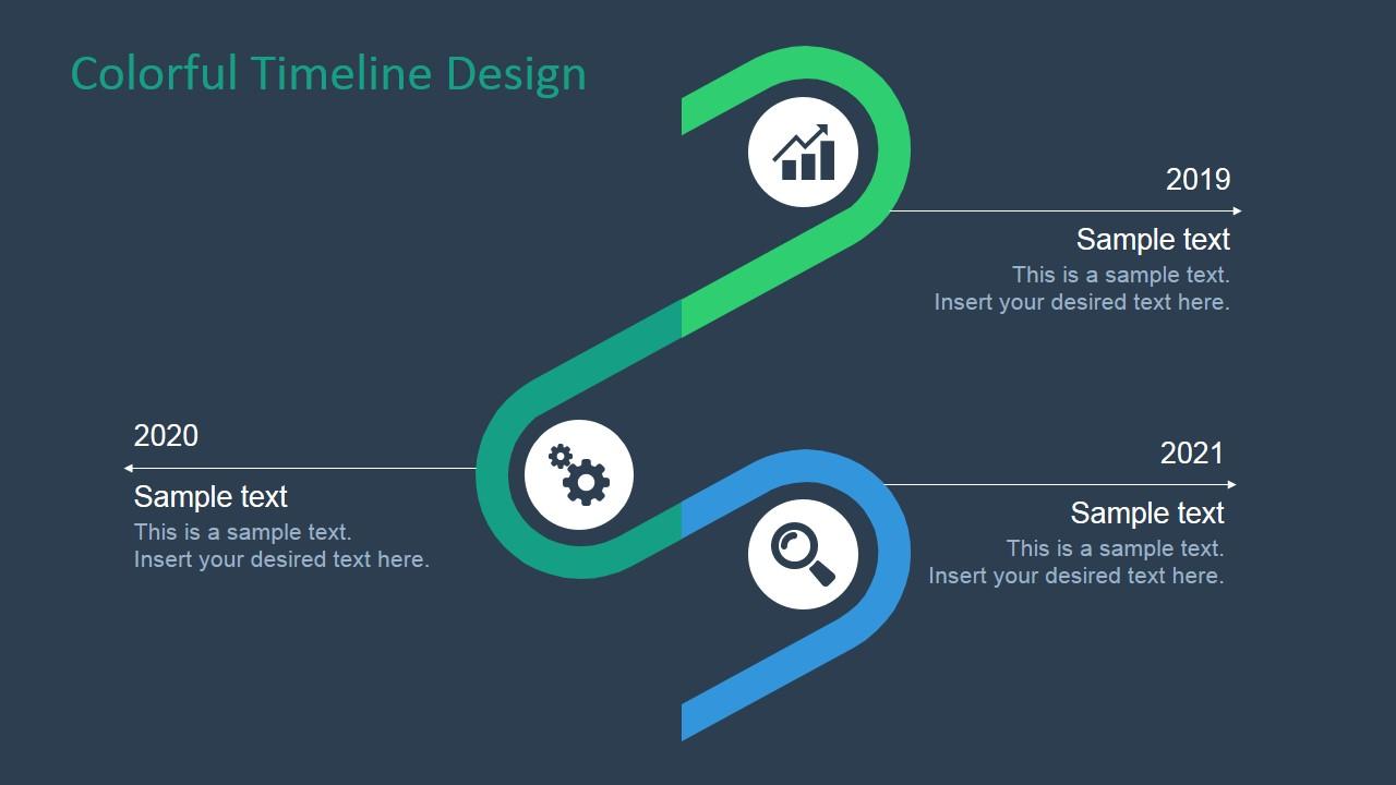 3d Curved Wallpaper Colorful Timeline Design For Powerpoint Slidemodel