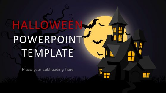 Blue Halloween Night Free PowerPoint Template, Backgrounds 08867