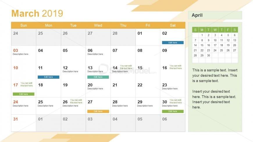 March PowerPoint Calendar 2019 - SlideModel