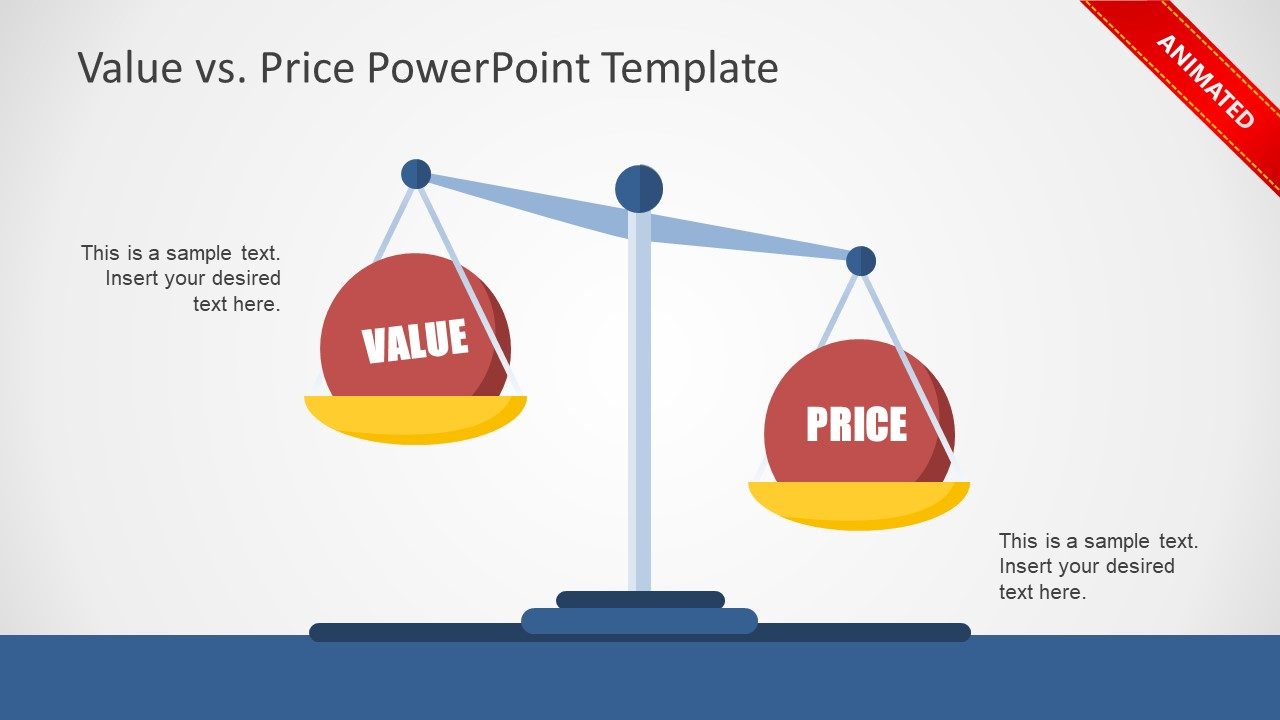 / Vs Value Vs Price Powerpoint Template
