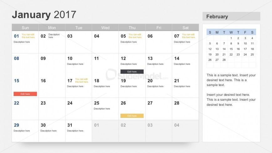 Free 2017 Calendar for PowerPoint - SlideModel - powerpoint calendar template