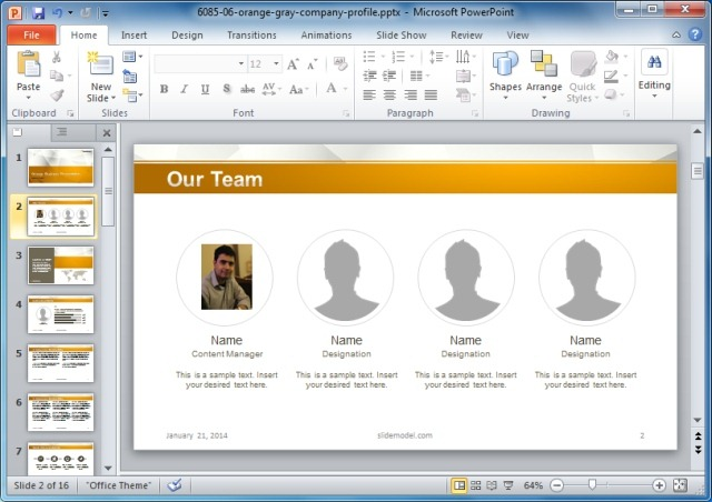 Business Card Templates For PowerPoint - company profile template microsoft