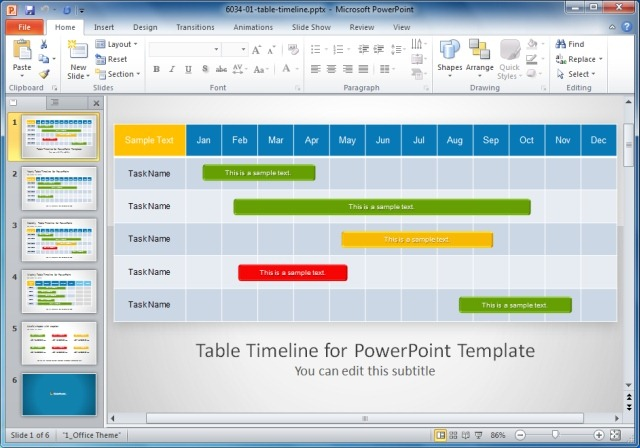 Table-Timeline-PowerPoint-Templatejpg - SlideModel - calendar timeline template