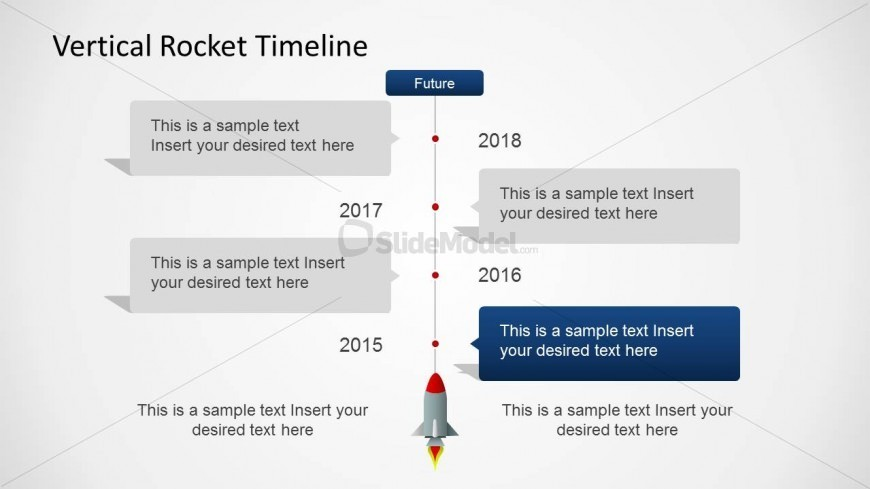 Four Years Vertical Timeline with Rocket for PowerPoint - SlideModel - powerpoint timeline