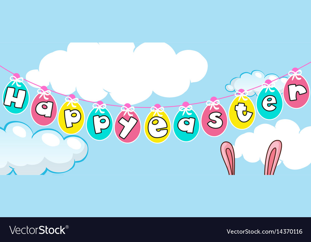 Happy easter card template with eggs in the sky Vector Image