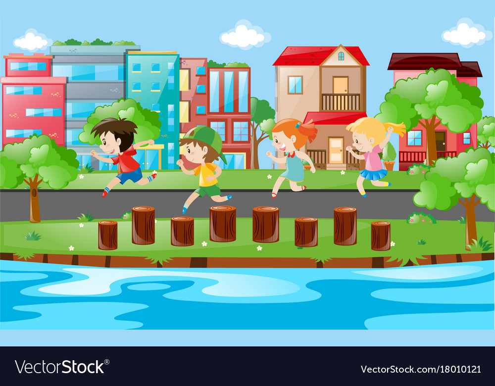 Children running on logs in park Royalty Free Vector Image