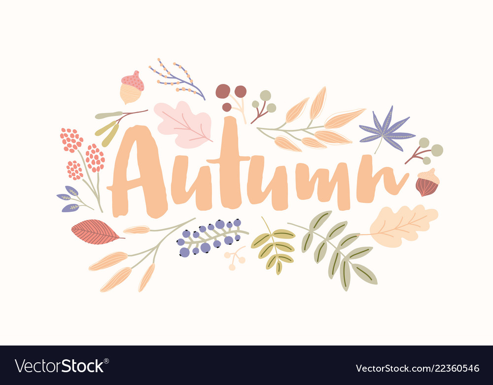 Autumn word handwritten with elegant cursive font Vector Image