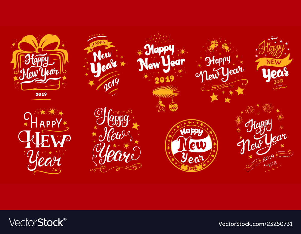New year 2019 lettering designs set Royalty Free Vector
