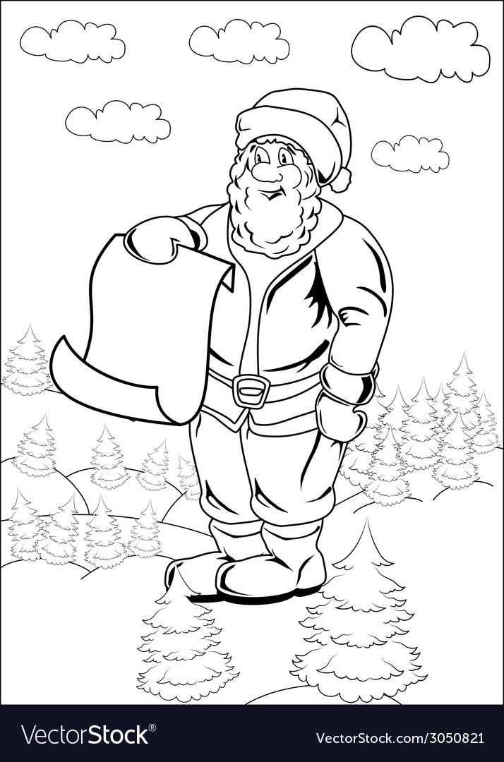 Cartoon Santa Claus Blank List Page Royalty Free Vector - santa list blank