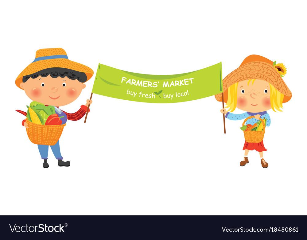 Cartoon farmer girl and boy with banner Royalty Free Vector