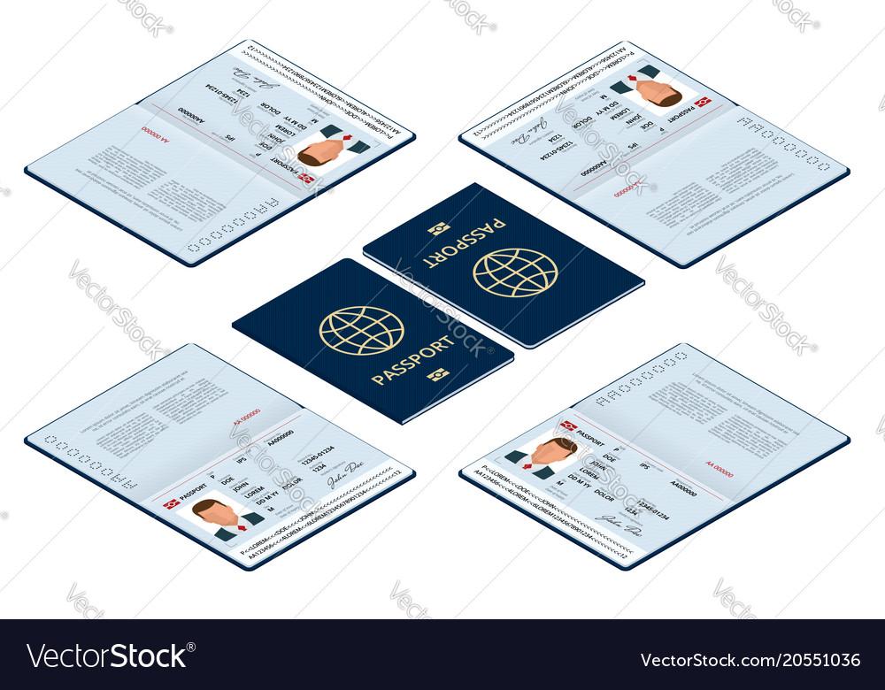 Isometric blank open passport template Royalty Free Vector - passport template