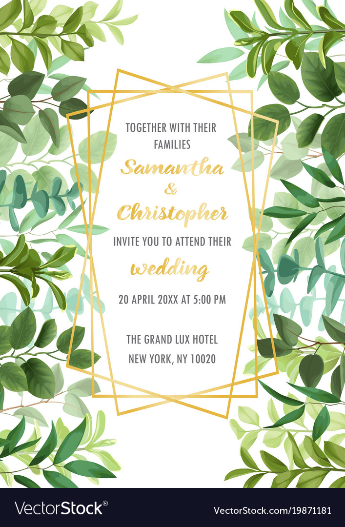 Wedding invitation with greenery Royalty Free Vector Image