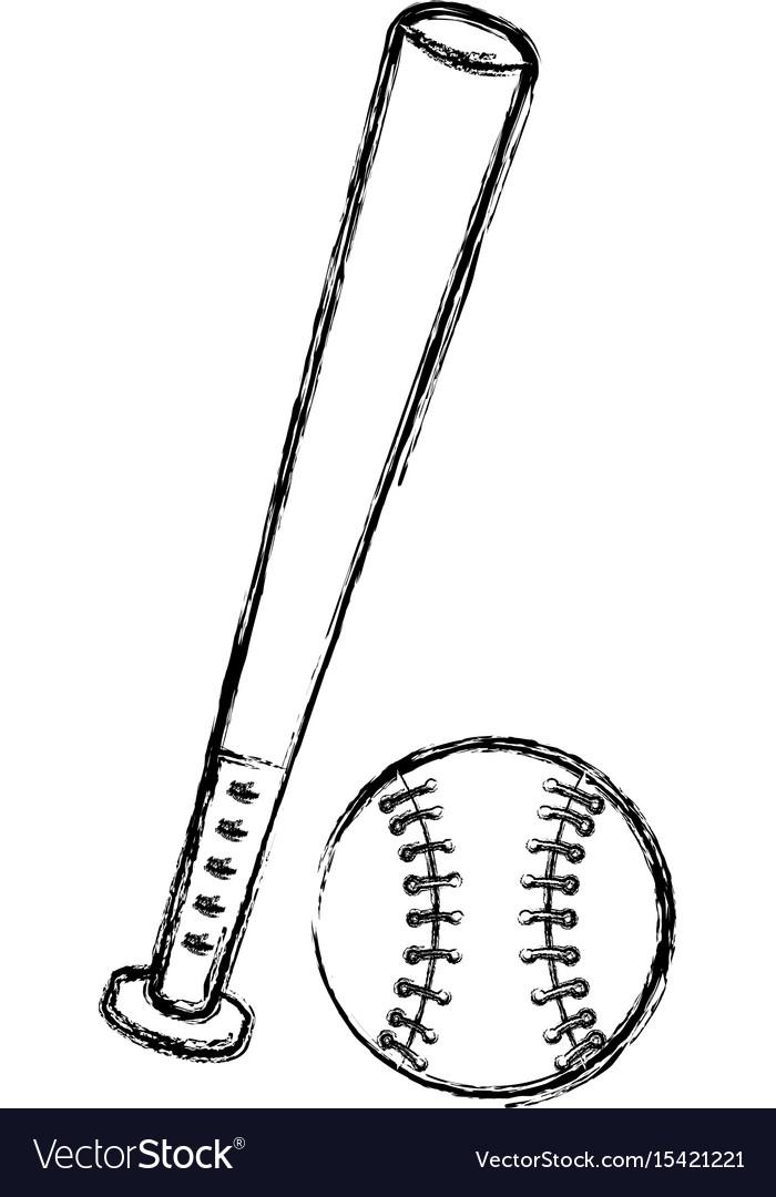 Baseball bat and ball equipment isolated icon Vector Image