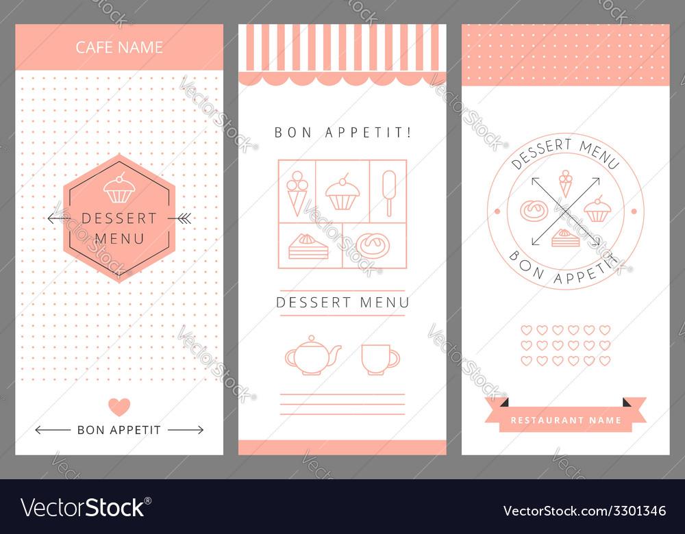 Dessert Menu Card Design template Royalty Free Vector Image