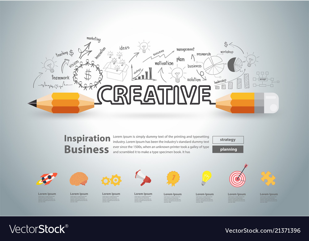 Creative pencil design with drawing charts graphs Vector Image