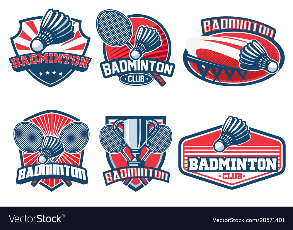 Badminton badge design set Royalty Free Vector Image
