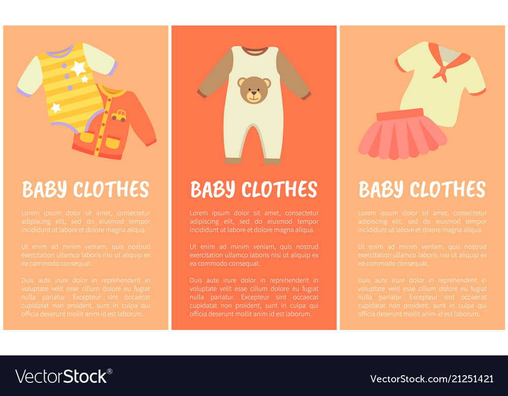 Baby clothes three banners Royalty Free Vector Image