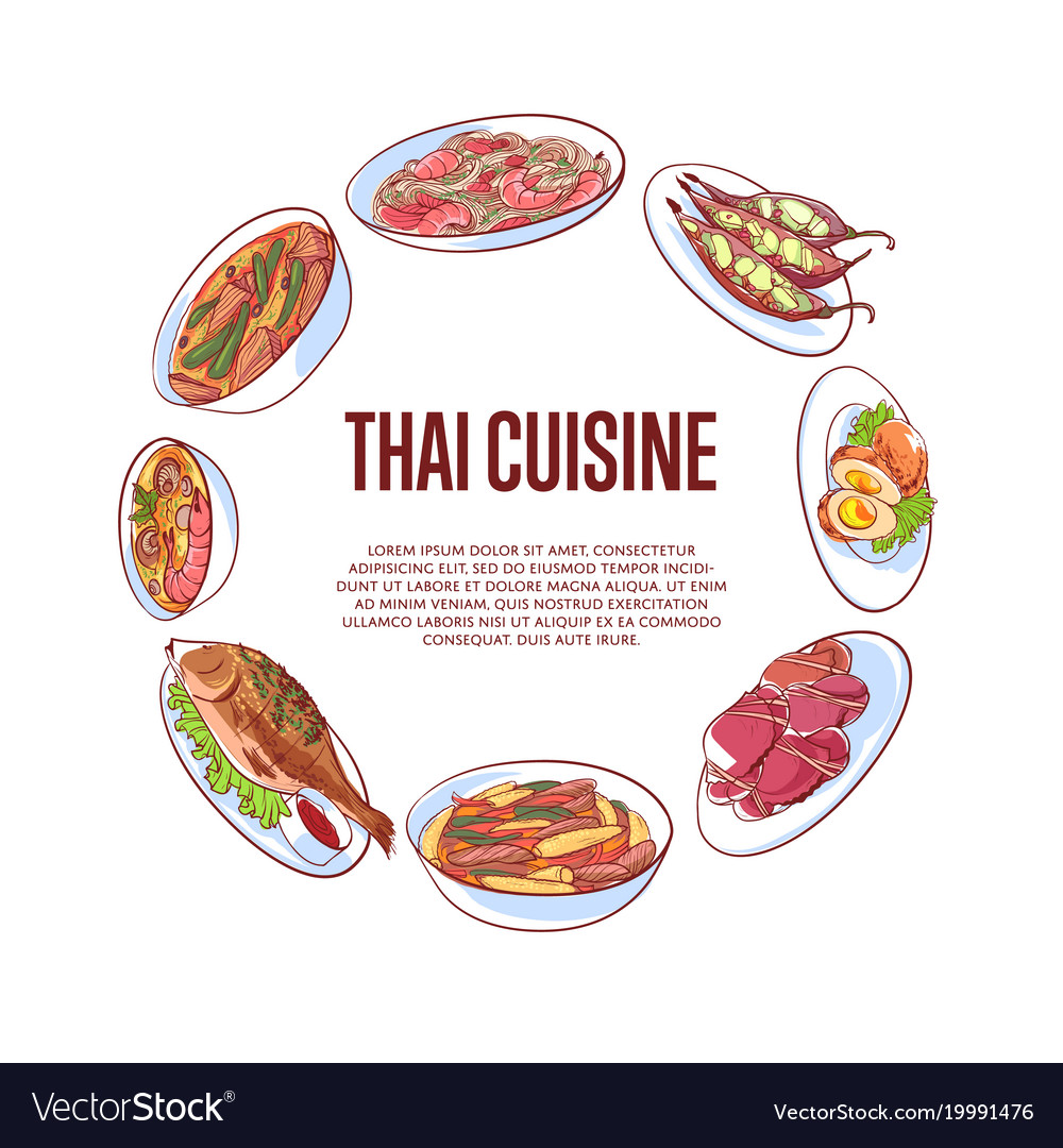 Poster Cuisine Thai Cuisine Poster With Asian Dishes