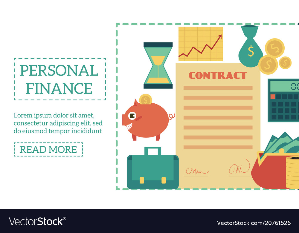 Flat personal finance poster template Royalty Free Vector