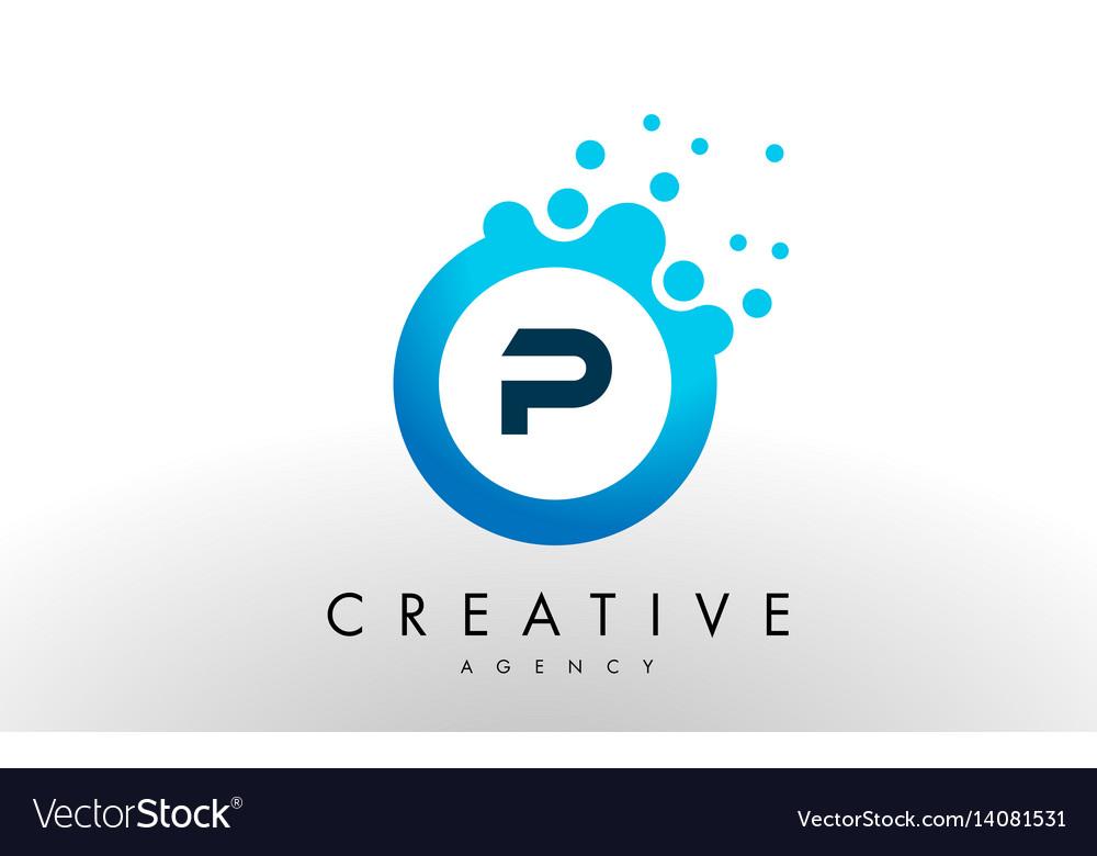P letter logo blue dots bubble design Royalty Free Vector