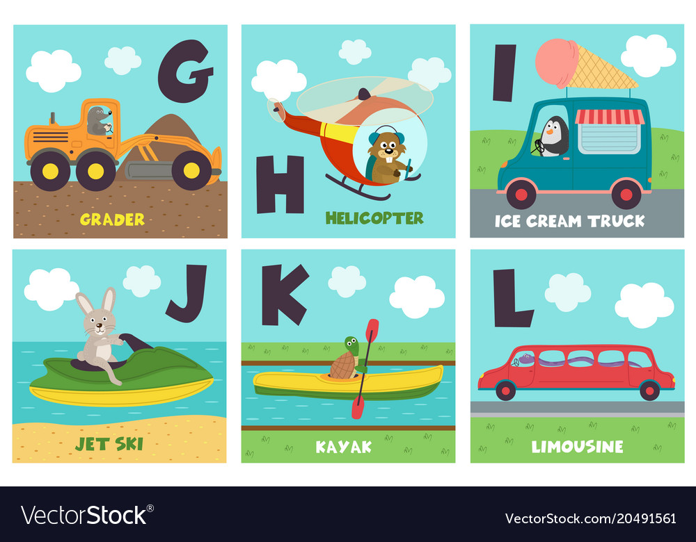 Alphabet card with transport and animals g to l Vector Image