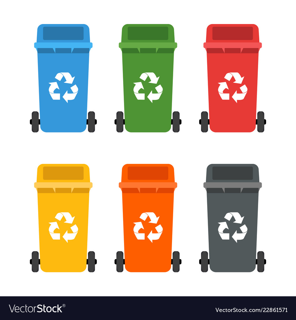 Colorful Garbage Cans Colorful Dumpsters Set Garbage Cans Ecology And