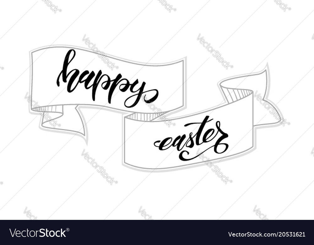 Happy easter greeting card template handwritten Vector Image
