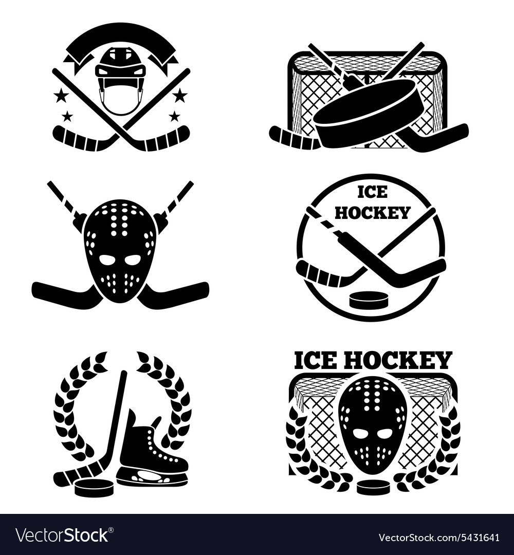 Hockey Logos Ice Hockey Emblem And Logo Set