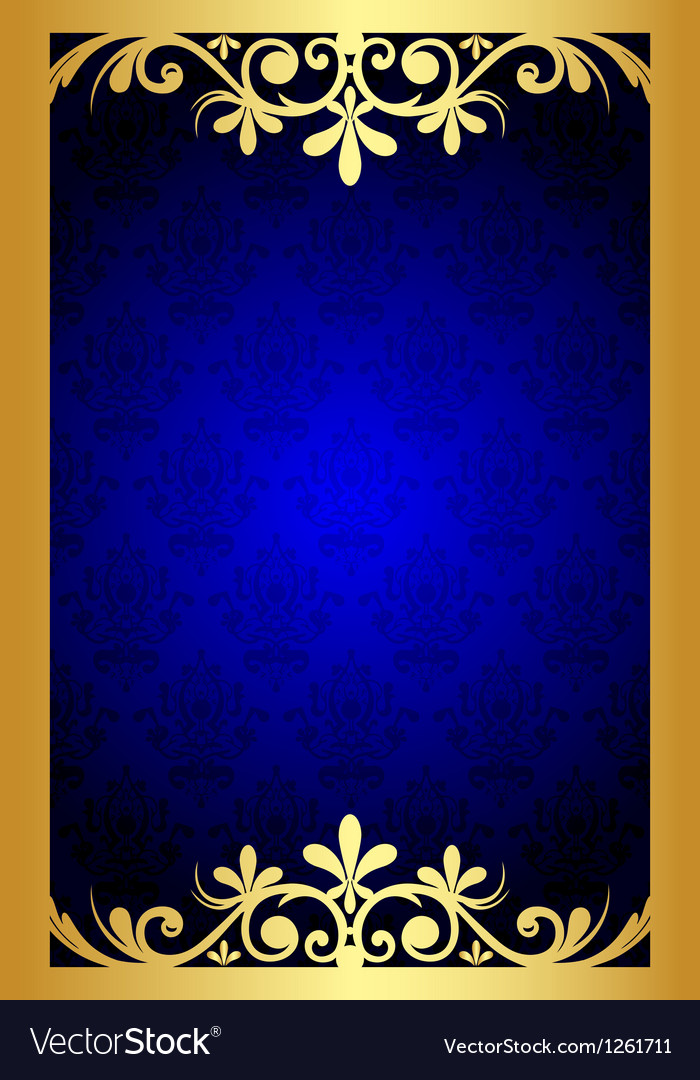 Crown Hd Wallpaper Gold And Blue Floral Frame Royalty Free Vector Image