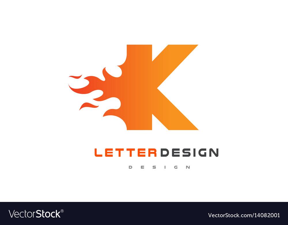 K letter flame logo design fire logo lettering Vector Image - flame logo
