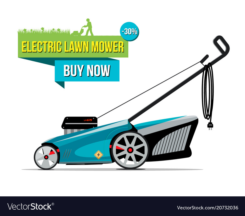 Electric Lawn Mower Sale Electric Lawn Mover Sale Banner Vector Image On Vectorstock