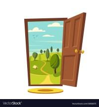 Open door Valley landscape Cartoon Royalty Free Vector Image