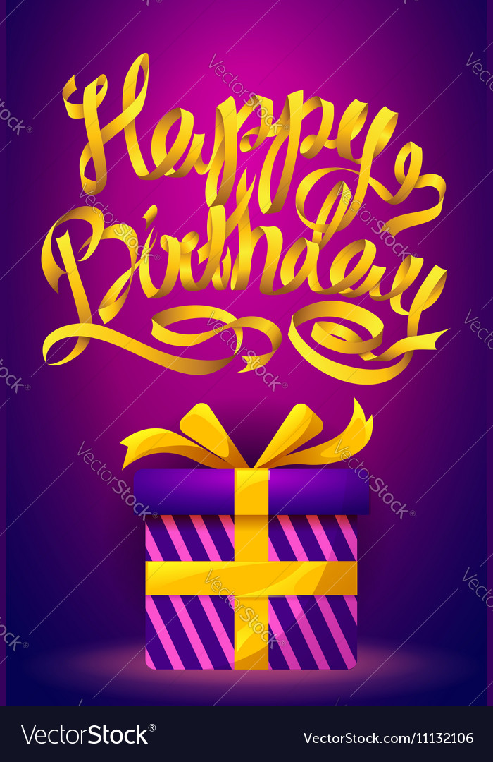 Happy Birthday poster - gold ribbon lettering and