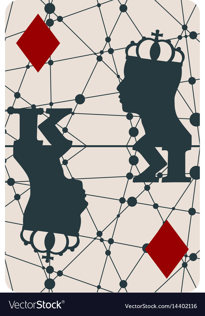 King of diamonds playing card design Royalty Free Vector