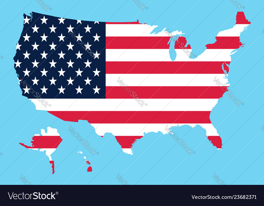 Usa map flag on a blue background Royalty Free Vector Image